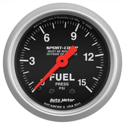 "Instrument Panel - Fuel Pressure Gauge - AutoMeter - GAUGE, FUEL PRESSURE, 2 1/16"", 15PSI, MECHANICAL, SPORT-COMP - 3311"