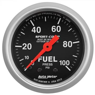 "Instrument Panel - Fuel Pressure Gauge - AutoMeter - GAUGE, FUEL PRESSURE, 2 1/16"", 100PSI, MECHANICAL, SPORT-COMP - 3312"