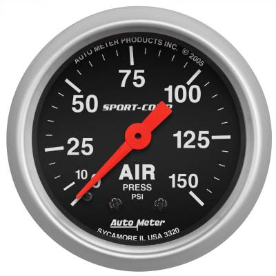 "AutoMeter - GAUGE, AIR PRESS, 2 1/16"", 150PSI, MECHANICAL, SPORT-COMP - 3320"