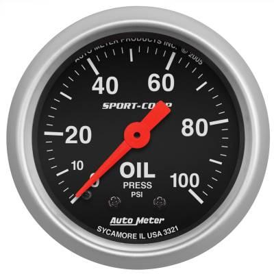 "Instrument Panel - Engine Oil Pressure Gauge - AutoMeter - GAUGE, OIL PRESSURE, 2 1/16"", 100PSI, MECHANICAL, SPORT-COMP - 3321"
