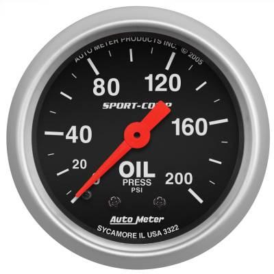 "Instrument Panel - Engine Oil Pressure Gauge - AutoMeter - GAUGE, OIL PRESSURE, 2 1/16"", 200PSI, MECHANICAL, SPORT-COMP - 3322"
