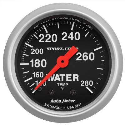 "Instrument Panel - Engine Coolant Temperature Gauge - AutoMeter - GAUGE, WATER TEMP, 2 1/16"", 140-280?F, MECHANICAL, SPORT-COMP - 3331"