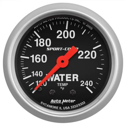 "Instrument Panel - Engine Coolant Temperature Gauge - AutoMeter - GAUGE, WATER TEMP, 2 1/16"", 120-240?F, MECHANICAL, SPORT-COMP - 3332"