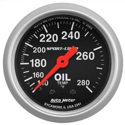 "Instrument Panel - Engine Oil Temperature Gauge - AutoMeter - GAUGE, OIL TEMP, 2 1/16"", 140-280?F, MECHANICAL, SPORT-COMP - 3341"