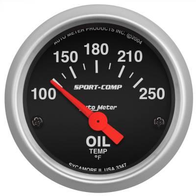 """Instrument Panel - Engine Oil Temperature Gauge - AutoMeter - GAUGE, OIL TEMP, 2 1/16"""", 100-250?F, ELECTRIC, SPORT-COMP - 3347"""