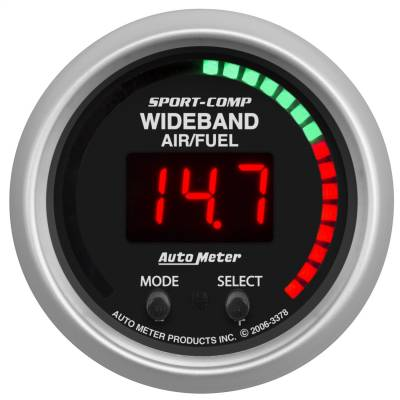 "Instrument Panel - Air / Fuel Ratio Gauge - AutoMeter - GAUGE, AIR/FUEL RATIO-PRO, 2 1/16"", 10:1-20:1, DIGITAL W/ PEAK & WARN, SC - 3378"