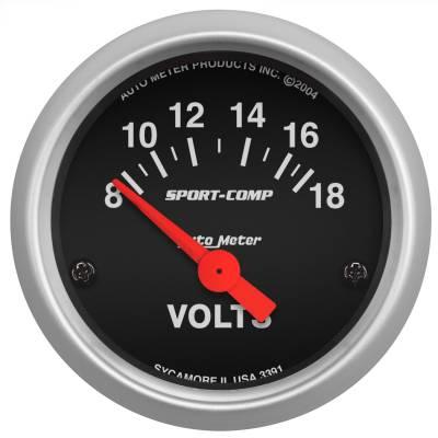 """Instrument Panel - Voltmeter Gauge - AutoMeter - GAUGE, VOLTMETER, 2 1/16"""", 18V, ELEC, SPORT-COMP - 3391"""