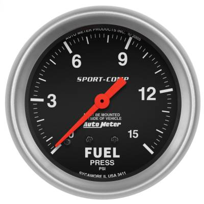 "Instrument Panel - Fuel Pressure Gauge - AutoMeter - GAUGE, FUEL PRESSURE, 2 5/8"", 15PSI, MECHANICAL, SPORT-COMP - 3411"