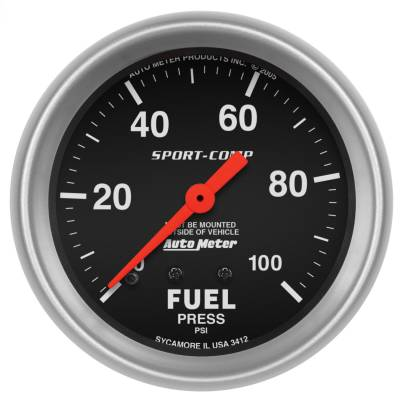 "Instrument Panel - Fuel Pressure Gauge - AutoMeter - GAUGE, FUEL PRESSURE, 2 5/8"", 100PSI, MECHANICAL, SPORT-COMP - 3412"