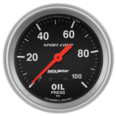 "Instrument Panel - Engine Oil Pressure Gauge - AutoMeter - GAUGE, OIL PRESSURE, 2 5/8"", 100PSI, MECHANICAL, SPORT-COMP - 3421"