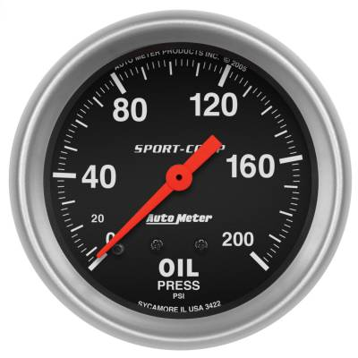 "Instrument Panel - Engine Oil Pressure Gauge - AutoMeter - GAUGE, OIL PRESSURE, 2 5/8"", 200PSI, MECHANICAL, SPORT-COMP - 3422"