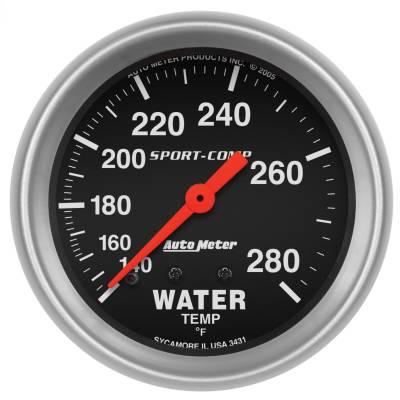"Instrument Panel - Engine Coolant Temperature Gauge - AutoMeter - GAUGE, WATER TEMP, 2 5/8"", 140-280?F, MECHANICAL, SPORT-COMP - 3431"