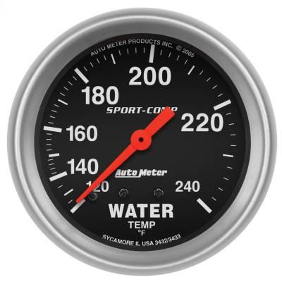 "Instrument Panel - Engine Coolant Temperature Gauge - AutoMeter - GAUGE, WATER TEMP, 2 5/8"", 120-240?F, MECHANICAL, 12FT., SPORT-COMP - 3433"