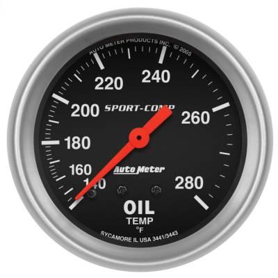 "Instrument Panel - Engine Oil Temperature Gauge - AutoMeter - GAUGE, OIL TEMP, 2 5/8"", 140-280?F, MECHANICAL, SPORT-COMP - 3441"