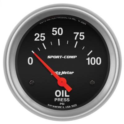 "Instrument Panel - Engine Oil Pressure Gauge - AutoMeter - GAUGE, OIL PRESSURE, 2 5/8"", 100PSI, ELECTRIC, SPORT-COMP - 3522"