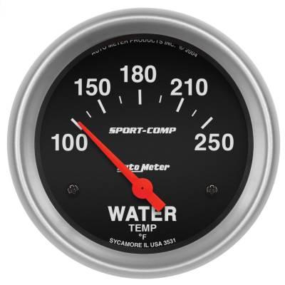 "Instrument Panel - Engine Coolant Temperature Gauge - AutoMeter - GAUGE, WATER TEMP, 2 5/8"", 100-250?F, ELECTRIC, SPORT-COMP - 3531"