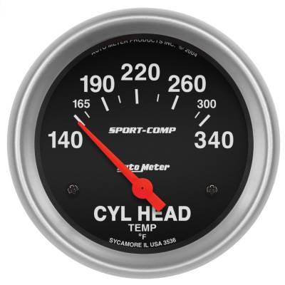 "Instrument Panel - Engine Cylinder Head Temperature Gauge - AutoMeter - GAUGE, CYLINDER HEAD TEMP, 2 5/8"", 140-340?F, ELECTRIC, SPORT-COMP - 3536"