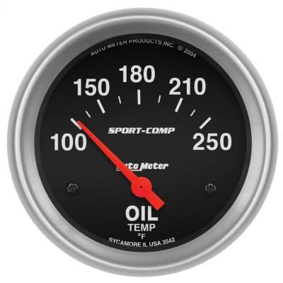 """Instrument Panel - Engine Oil Temperature Gauge - AutoMeter - GAUGE, OIL TEMP, 2 5/8"""", 100-250?F, ELECTRIC, SPORT-COMP - 3542"""