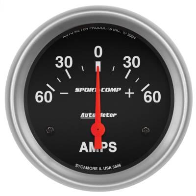"Instrument Panel - Ammeter Gauge - AutoMeter - GAUGE, AMMETER, 2 5/8"", 60A, ELECTRIC, SPORT-COMP - 3586"