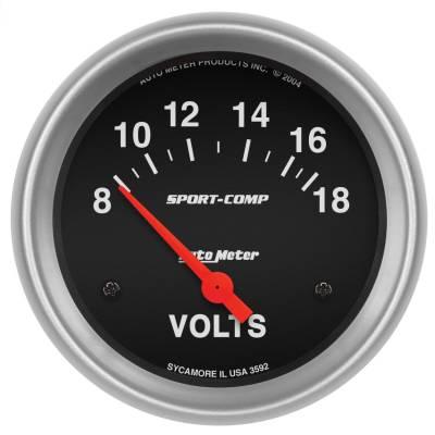 """Instrument Panel - Voltmeter Gauge - AutoMeter - GAUGE, VOLTMETER, 2 5/8"""", 18V, ELECTRIC, SPORT-COMP - 3592"""