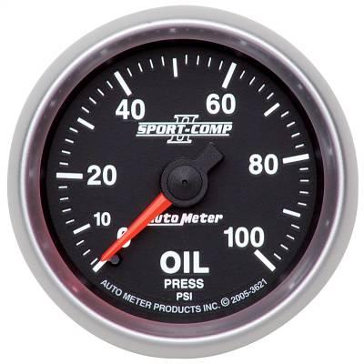 "Instrument Panel - Engine Oil Pressure Gauge - AutoMeter - GAUGE, OIL PRESSURE, 2 1/16"", 100PSI, MECHANICAL, SPORT-COMP II - 3621"