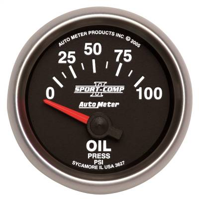 "Instrument Panel - Engine Oil Pressure Gauge - AutoMeter - GAUGE, OIL PRESSURE, 2 1/16"", 100PSI, ELECTRIC, SPORT-COMP II - 3627"