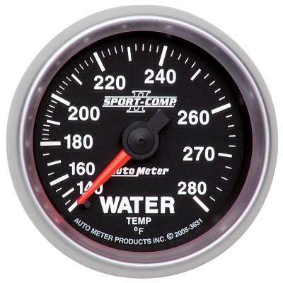 "Instrument Panel - Engine Coolant Temperature Gauge - AutoMeter - GAUGE, WATER TEMP, 2 1/16"", 140-280?F, MECHANICAL, SPORT-COMP II - 3631"