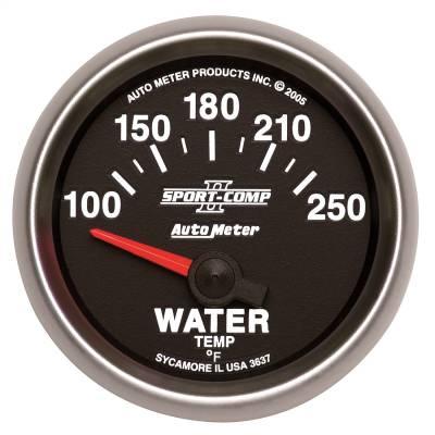 "Instrument Panel - Engine Coolant Temperature Gauge - AutoMeter - GAUGE, WATER TEMP, 2 1/16"", 100-250?F, ELECTRIC, SPORT-COMP II - 3637"