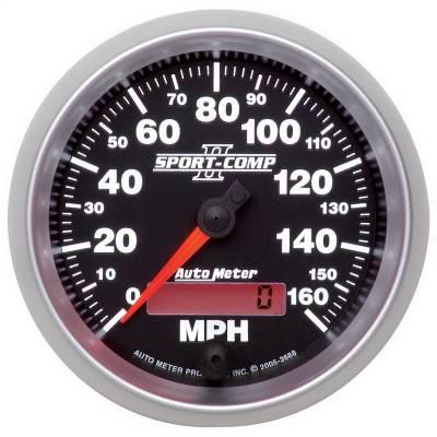 """Instrument Panel - Speedometer Gauge - AutoMeter - GAUGE, SPEEDOMETER, 3 3/8"""", 160MPH, ELEC. PROGRAMMABLE, SPORT-COMP II - 3688"""