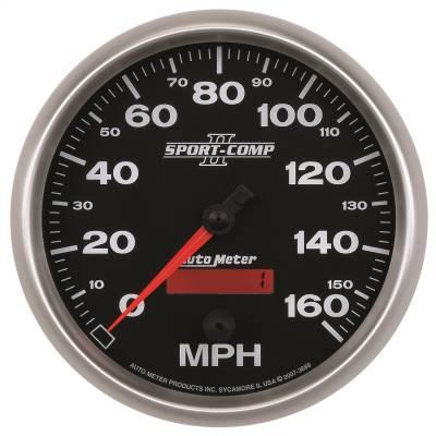 """Instrument Panel - Speedometer Gauge - AutoMeter - GAUGE, SPEEDOMETER, 5"""", 160MPH, ELEC. PROGRAMMABLE, SPORT-COMP II - 3689"""