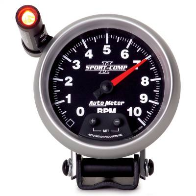 "Instrument Panel - Tachometer Gauge - AutoMeter - GAUGE, TACHOMETER, 3 3/4"", 10K RPM, PEDESTAL W/ EXT. QUICK-LITE, SPORT-COMP II - 3690"