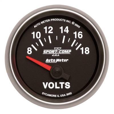 """Instrument Panel - Voltmeter Gauge - AutoMeter - GAUGE, VOLTMETER, 2 1/16"""", 18V, ELECTRIC, SPORT-COMP II - 3692"""
