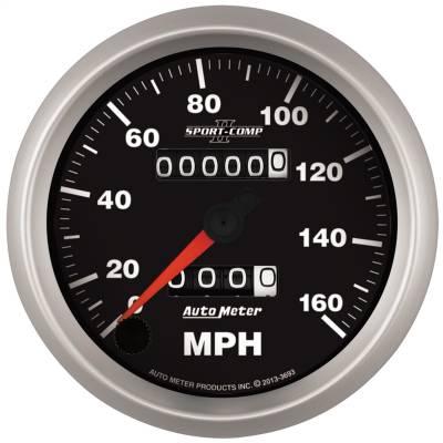 """Instrument Panel - Speedometer Gauge - AutoMeter - GAUGE, SPEEDOMETER, 3 3/8"""", 160MPH, MECHANICAL, SPORT-COMP II - 3693"""