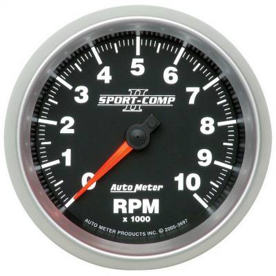 "Instrument Panel - Tachometer Gauge - AutoMeter - GAUGE, TACHOMETER, 3 3/8"", 10K RPM, IN-DASH, SPORT-COMP II - 3697"