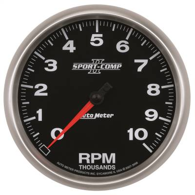 "Instrument Panel - Tachometer Gauge - AutoMeter - GAUGE, TACHOMETER, 5"", 10K RPM, IN-DASH, SPORT-COMP II - 3698"