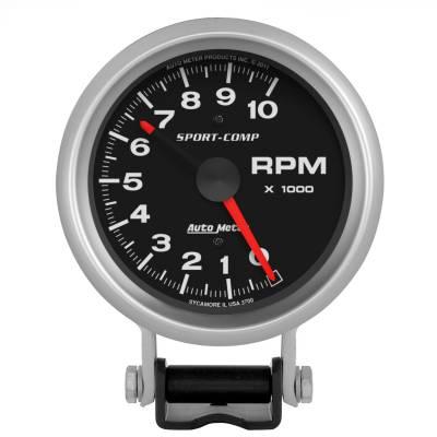 "Instrument Panel - Tachometer Gauge - AutoMeter - GAUGE, TACHOMETER, 3 3/4"", 10K RPM, PEDESTAL W/ RED LINE, SPORT-COMP - 3700"