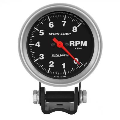 "Instrument Panel - Tachometer Gauge - AutoMeter - GAUGE, TACHOMETER, 2 5/8"", 8K RPM, PEDESTAL, SPORT-COMP - 3708"