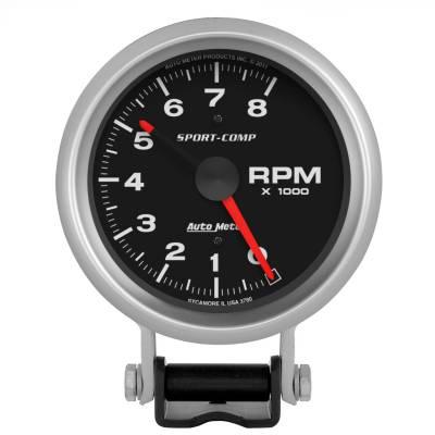 "Instrument Panel - Tachometer Gauge - AutoMeter - GAUGE, TACHOMETER, 3 3/4"", 8K RPM, PEDESTAL W/ RED LINE, SPORT-COMP - 3780"