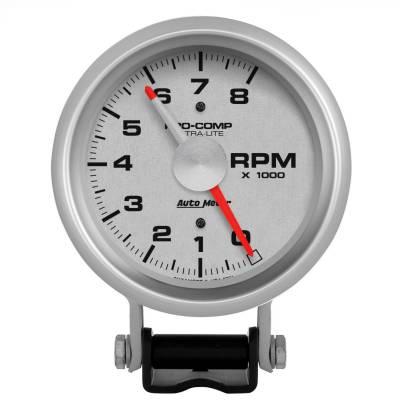 "Instrument Panel - Tachometer Gauge - AutoMeter - GAUGE, TACHOMETER, 3 3/4"", 8K RPM, PEDESTAL W/ RED LINE, ULTRA-LITE - 3781"