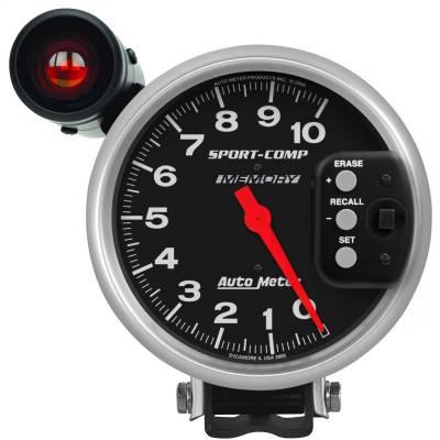 "Instrument Panel - Tachometer Gauge - AutoMeter - GAUGE, TACH, 5"", 10K RPM, PEDESTAL W/ EXT. SHIFT-LITE & MEMORY, SPORT-COMP - 3906"