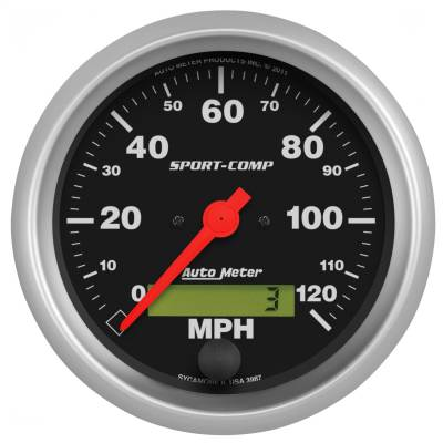 """Instrument Panel - Speedometer Gauge - AutoMeter - GAUGE, SPEEDO, 3 3/8"""", 120MPH, ELEC. PROGRAM W/ LCD ODO, SPORT-COMP - 3987"""