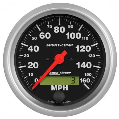 """Instrument Panel - Speedometer Gauge - AutoMeter - GAUGE, SPEEDO, 3 3/8"""", 160MPH, ELEC. PROGRAM W/ LCD ODO, SPORT-COMP - 3988"""