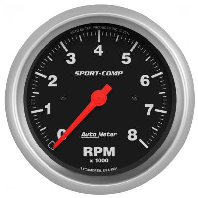 "Instrument Panel - Tachometer Gauge - AutoMeter - GAUGE, TACHOMETER, 3 3/8"", 8K RPM, IN-DASH, SPORT-COMP - 3991"