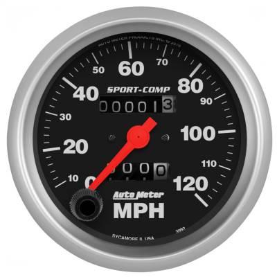 """Instrument Panel - Speedometer Gauge - AutoMeter - GAUGE, SPEEDOMETER, 3 3/8"""", 120MPH, MECHANICAL, SPORT-COMP - 3992"""