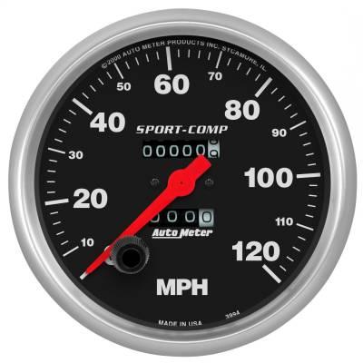 """Instrument Panel - Speedometer Gauge - AutoMeter - GAUGE, SPEEDOMETER, 5"""", 120MPH, MECHANICAL, SPORT-COMP - 3994"""