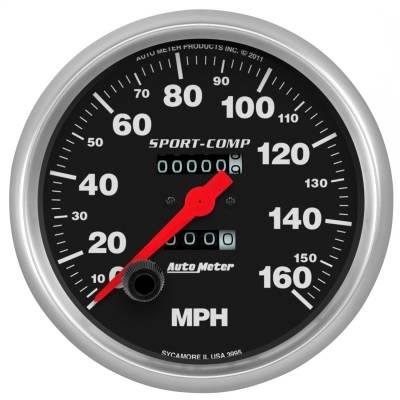 """Instrument Panel - Speedometer Gauge - AutoMeter - GAUGE, SPEEDOMETER, 5"""", 160MPH, MECHANICAL, SPORT-COMP - 3995"""