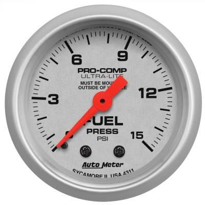 "Instrument Panel - Fuel Pressure Gauge - AutoMeter - GAUGE, FUEL PRESSURE, 2 1/16"", 15PSI, MECHANICAL, ULTRA-LITE - 4311"