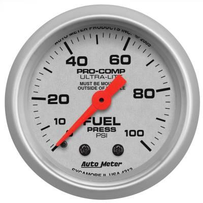 "Instrument Panel - Fuel Pressure Gauge - AutoMeter - GAUGE, FUEL PRESSURE, 2 1/16"", 100PSI, MECHANICAL, ULTRA-LITE - 4312"