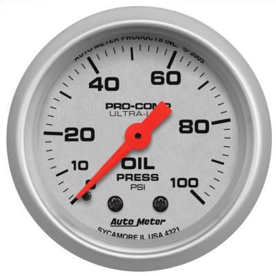 "Instrument Panel - Engine Oil Pressure Gauge - AutoMeter - GAUGE, OIL PRESSURE, 2 1/16"", 100PSI, MECHANICAL, ULTRA-LITE - 4321"