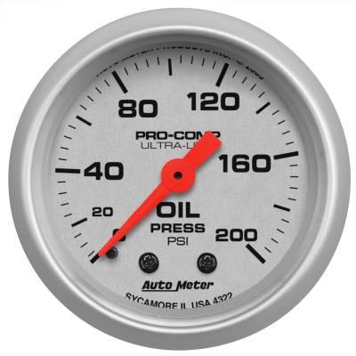 "Instrument Panel - Engine Oil Pressure Gauge - AutoMeter - GAUGE, OIL PRESSURE, 2 1/16"", 200PSI, MECHANICAL, ULTRA-LITE - 4322"